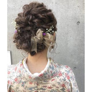 ゴールドオーガンジー🎀スターチス&かすみ草(ドライフラワー)髪飾り❤成人式(ドライフラワー)