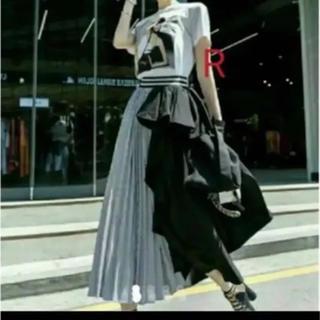 ZARA - 変形 ロングスカート♥プリーツ アシンメトリー ブラック 切り返し フリル