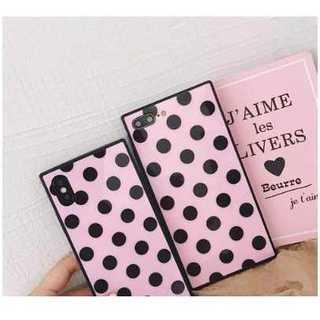 iPhone7/8 スクエア スマホケース ドット柄 ピンク