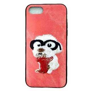 iPhoneケース レッド 犬 iPhone7/8 デニム 刺繍 アニマル 保護