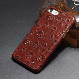 茶 ドクロ  iPhone6s/7/8/7plus レザー ケース