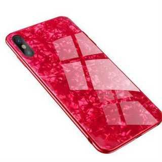 iphoneケース ガラスシェル(レッド、iphoneXR)