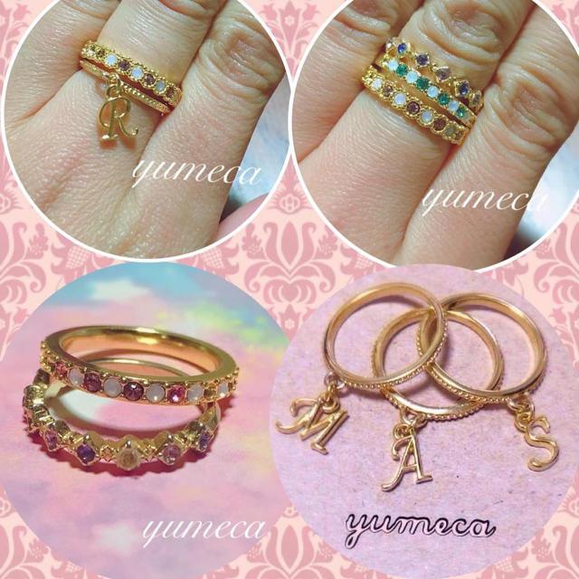 華奢イニシャルとスワロ2連リング💍💕 レディースのアクセサリー(リング(指輪))の商品写真