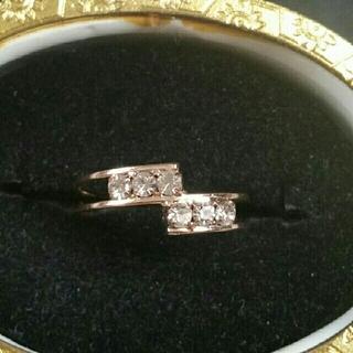 ◆2◆6粒のダイヤモンド風ストーンの2連風ゴールドリング(リング(指輪))