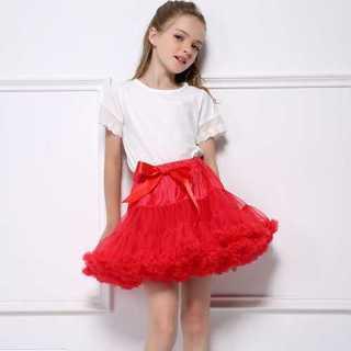 デュラス(DURAS)のレッド キッズ 女の子 チュチュ スカート ドレス ミニスカ フリル プリンセス(スカート)
