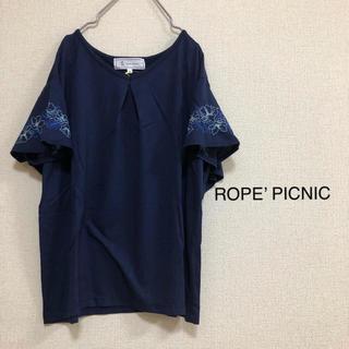 Rope' Picnic - Mサイズ ロペピクニック ⭐️新品⭐️ 袖刺繍フレアカットソー ネイビー