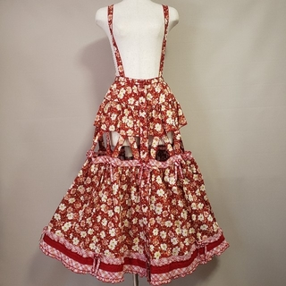 PINK HOUSE - ピンクハウス コスモス 吊りスカート 赤