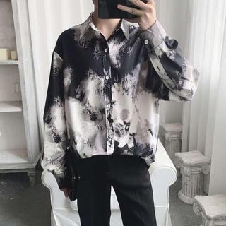韓国ファッション 柄シャツ カジュアル メンズ ユニセックス トップス