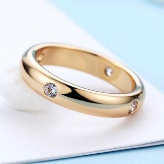 SWAROVSKI - 18K rose gold コーティング指輪 レディース 4粒スワロフスキーCZ