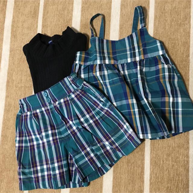 GU(ジーユー)のGU 上下セット 110 キッズ/ベビー/マタニティのキッズ服 女の子用(90cm~)(Tシャツ/カットソー)の商品写真
