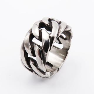 リング 指輪 喜平チェーン 重厚 ステンレス メンズ 重厚感 幅11mm(リング(指輪))