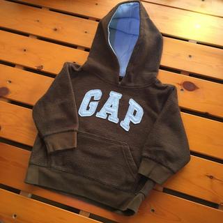 ギャップ(GAP)の【90】GAPパーカー茶×水色ロゴ(ジャケット/上着)