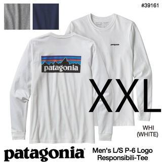 パタゴニア(patagonia)の新品 XXL パタゴニア ロングスリーブ P6 ロゴ長袖Tシャツ 白 ロンT長T(Tシャツ/カットソー(七分/長袖))