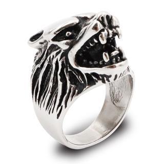 リング 指輪 ウルフヘッド 狼 サージカルステンレス 重厚 高級感 メンズ(リング(指輪))