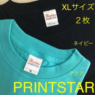 新品  無地  Tシャツ   XLサイズ  2枚  アクア/ネイビー    T(Tシャツ/カットソー(半袖/袖なし))