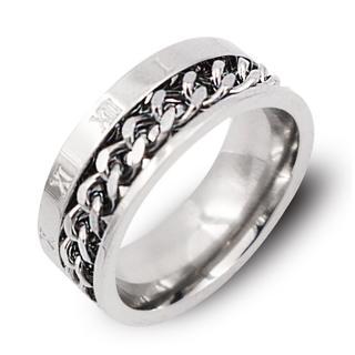 リング 指輪 ローマ数字 シルバー 喜平チェーン サージカルステンレス メンズ