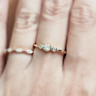 3ストーン*モアサナイトダイヤモンド(リング(指輪))