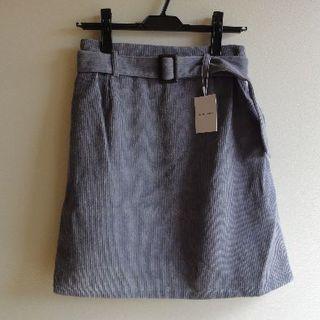 【新品タグ付き】コール天ミニスカート(ベルトつき)natural couture