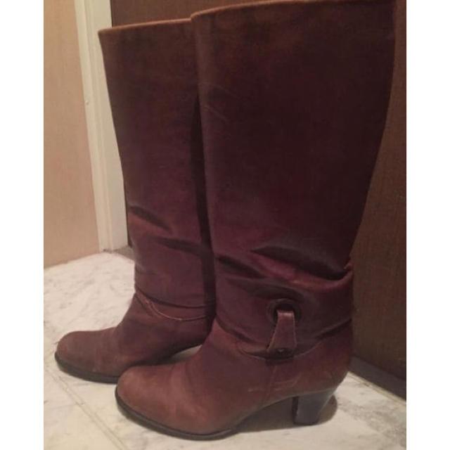 乗馬ブーツ風 ブラウンロングブーツ 太ヒール サイズ36 レディースの靴/シューズ(ブーツ)の商品写真