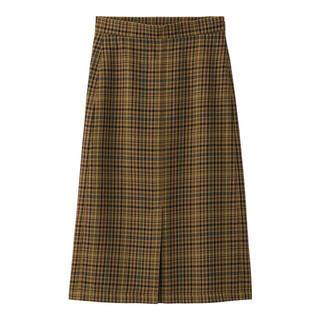 ジーユー(GU)のジーユー GU チェックナローミディスカートAM BROWN M(ひざ丈スカート)