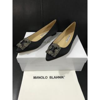 マノロブラニク(MANOLO BLAHNIK)の38/25cmマノロブラニク ブラック(ハイヒール/パンプス)