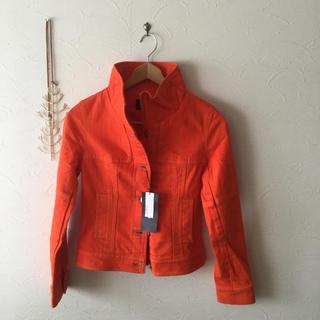 ルスーク(Le souk)のル スークのオレンジカラー デニムジャケット タグ付未着用 送料込!(Gジャン/デニムジャケット)