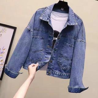 【新作入荷】バックプリント デニム ジャケット XLサイズ(122)(Gジャン/デニムジャケット)