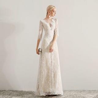 エレガント  ウエディングドレス  贅沢な小花総レース  エンパイアライン(ウェディングドレス)