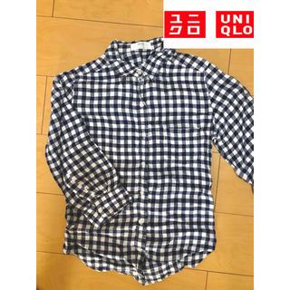 ユニクロ(UNIQLO)のUNIQLO  ネイビー シンプル チェックシャツ(シャツ/ブラウス(長袖/七分))