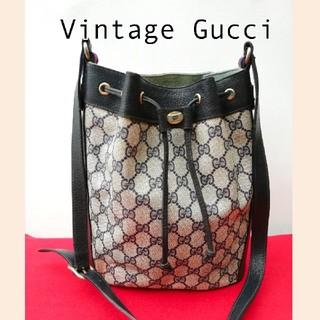 Gucci - 良品 オールドグッチ シェリーライン 巾着型ビンテージショルダーバッグ ネイビー