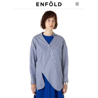 ENFOLD エンフォルド ストライプ 変形シャツ