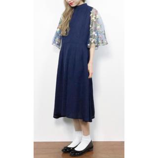 メルロー(merlot)の花刺繍レース袖ワンピース(ミディアムドレス)