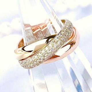 カルティエ(Cartier)の【仕上済】カルティエ トリニティリング  ダイヤ 10号 レディース 指輪(リング(指輪))