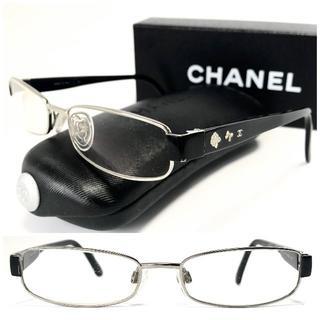 CHANEL - シャネル カメリア リボン ココ ブラック黒×シルバー メガネ 上品♡