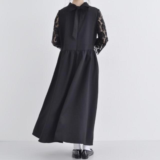 merlot(メルロー)のバックリボン スタンドカラー ドレス ワンピース merlot plus レディースのフォーマル/ドレス(ロングドレス)の商品写真