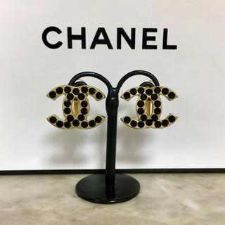 CHANEL - 正規品 シャネル イヤリング ゴールド ココマーク ブラックストーン 金 ロゴ