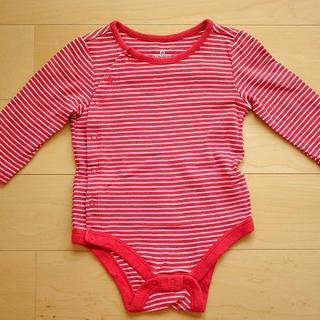 ベビーギャップ(babyGAP)の【baby GAP3-6months】長袖ストライプ赤ボディシャツ(ロンパース)(ロンパース)