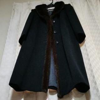 ラピーヌ(LAPINE)のラピーヌ毛100%カシミヤ混9号コート黒(ロングコート)