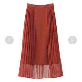 新品未使用 CLANE プリーツレイヤードスカート クラネ オレンジ(ひざ丈スカート)