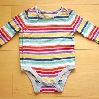 ベビーギャップ(babyGAP)の【baby GAP3-6months】長袖ストライプボディシャツ(ロンパース)A(ロンパース)