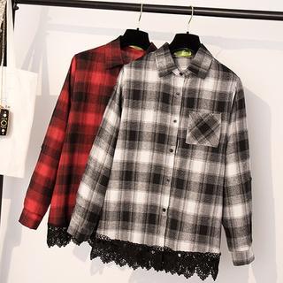【即購入OK】大きいサイズ  チェック柄レース裾シャツトップス(シャツ/ブラウス(長袖/七分))