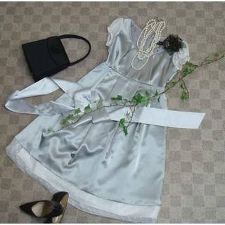 【在庫処分】38サイズ(9号)シルバーグレーサテンドレス 結婚式等に! 2283(ミディアムドレス)