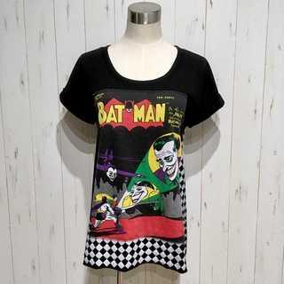 美品 BAT MAN バットマン ジョーカー チェック柄 Tシャツ
