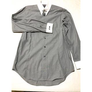 セマンティックデザイン(semantic design)の【semantic design】Lサイズストライプシャツ/グレー×ホワイト(シャツ)
