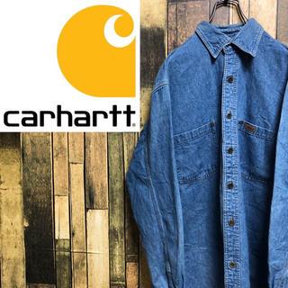 carhartt - 【激レア】カーハート☆ワンポイントレザーロゴ入りワークデニムシャツ