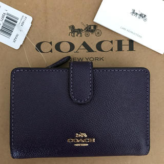 COACH - 新品!コーチ 二つ折り財布 パープル