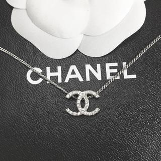 CHANEL - 正規品 シャネル ネックレス シルバー ココマーク ラインストーン 両面 ロゴ
