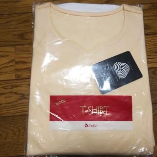 シャルレ(シャルレ)のシャルレ ウール100% ハートネック カットソー クリーム色 サイズL(カットソー(半袖/袖なし))
