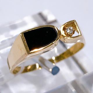 K18PG オニキス ダイヤモンド リング(リング(指輪))