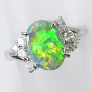 Pt900 オパール ダイヤモンド リング 10号[f72-5] (リング(指輪))